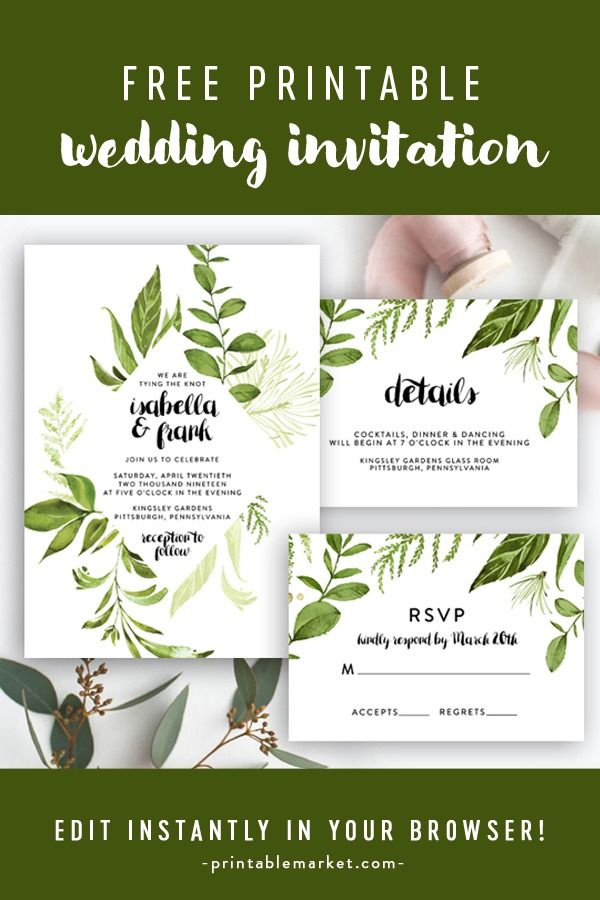 Free Editable Wedding Invitation Suite Invite Rsvp And Details Card Rustic Diamond Greenery Green Leaves Instant Download Printable Diy Template Prin Free Printable Wedding Invitations Free