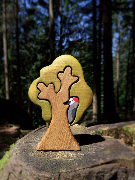 WALDORF Tree toy Waldorf nature table Wooden Tree Toy Tree figurine Woodland set puzzle Handmade Eco Friendly Birthday gift