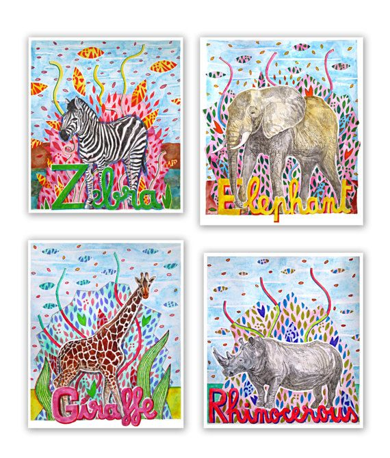 Set of 4 Jungle Animals Print by MerunaArt on Etsy #animal #illustration #rhino #elephant #zebra #giraffe #drawing #art #jungle