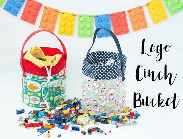 Tutorial: Cinch top fabric Lego bucket Paola from Sweet Julia Boutique shares a tutorial at Crazy Little Projects for making these fabric Lego buckets. They make cleaning up and storing all those Lego