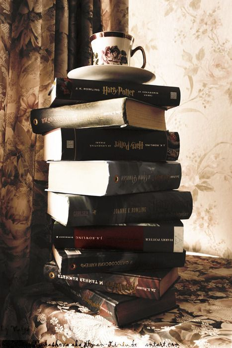 "Harry Potter- I see all of these beautiful books, and I can think is ""Holy cow, what if that tea spills!!"""