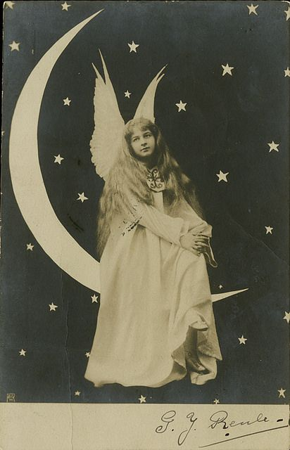 An Angel on a Paper Moon -  Real Photo Postcard |