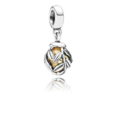 Laurel leaves sterling silver dangle charm with golden colored cubic zirconia. Wear it on your bracelet or as a necklace pendant. #PANDORA #PANDORAcharm