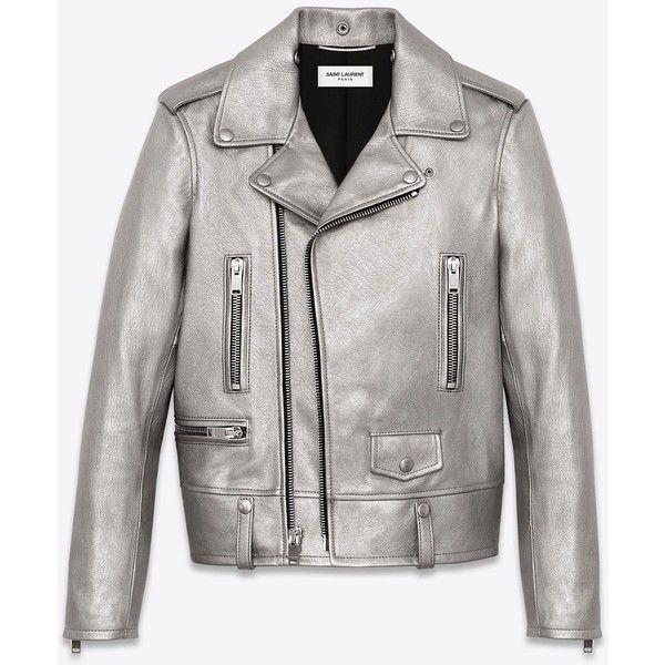 Saint Laurent Classic Motorcycle Jacket In Silver Leather (71 115 UAH) ❤ liked on Polyvore featuring outerwear, jackets, coats, coats & jackets, leather, silver, motorcycle jacket, white motorcycle jacket, white moto jacket and leather jacket