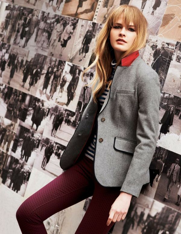 Love this grey wool jacket paired with textured mauve pants and a striped  turtleneck