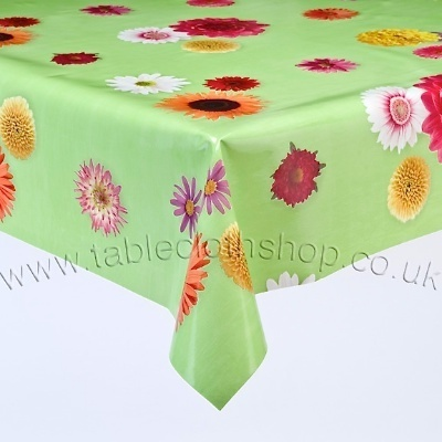 Funky Flowers On Green Vinyl Table Cover