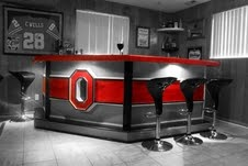 Ohio State Bar for a sporty Man Cave! To cover the windows with SportyShades see http://www.sportyshades.com/teams/college-blinds/ohio-state-university-2/