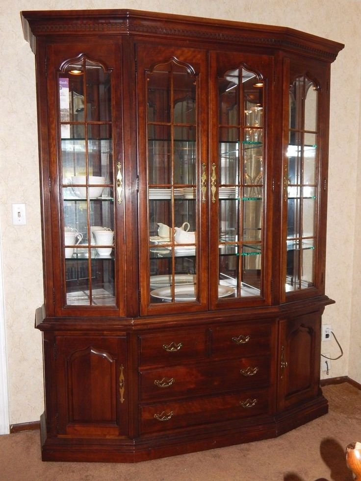 Wooden China Cabinet ~ Thomasville cherry grove china cabinet hutch retail