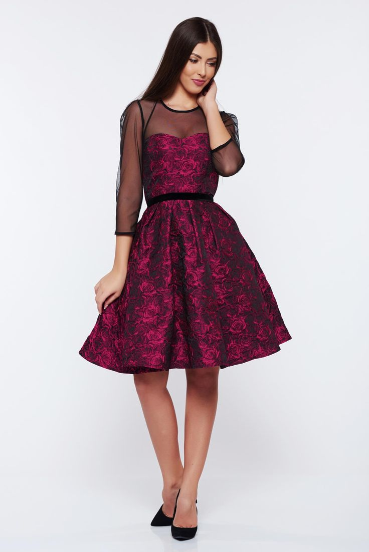 StarShinerS timeless romance purple occasional cloche dress with raised flowers, raised flowers, jacquard, fabric with print obtained by braided yarns with natural fibers, veil sleeves, one back botton fastening, Timeless Romance