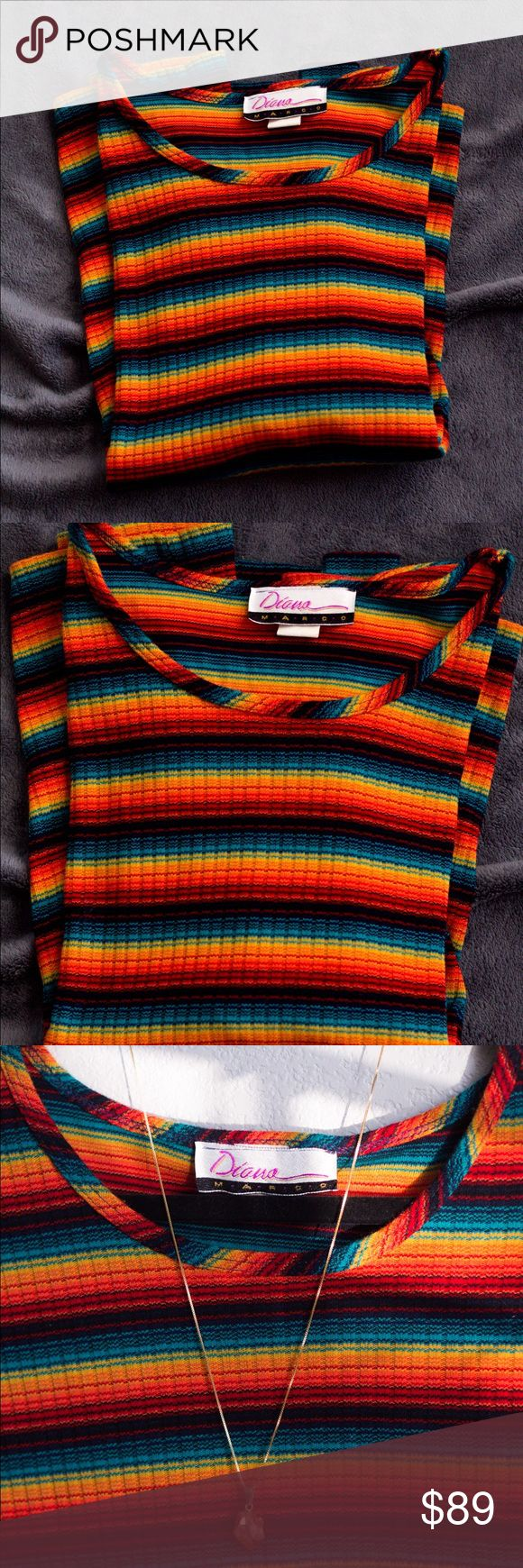 Groovy Striped Vintage Rainbow Jamaican Rasta Tee Groovy Striped 90s Vintage Rainbow Jamaican Island Rasta T Shirt | Size: Medium (Women's) | Condition: Pre-owned (Like-new! Excellent condition! Flawless!) Diana Marco Tops Tees - Short Sleeve