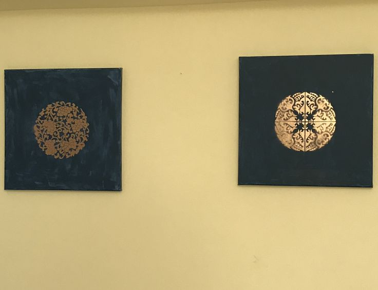 Gold paint stencil on painted canvas
