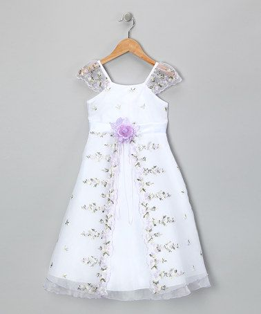 Take a look at this Lilac Floral Angel-Sleeve Dress - Toddler & Girls by Chic Baby on #zulily today!