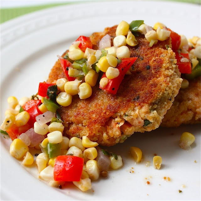 Get Off Your Tush and Cook: Salmon Cakes with Crunchy Corn Relish