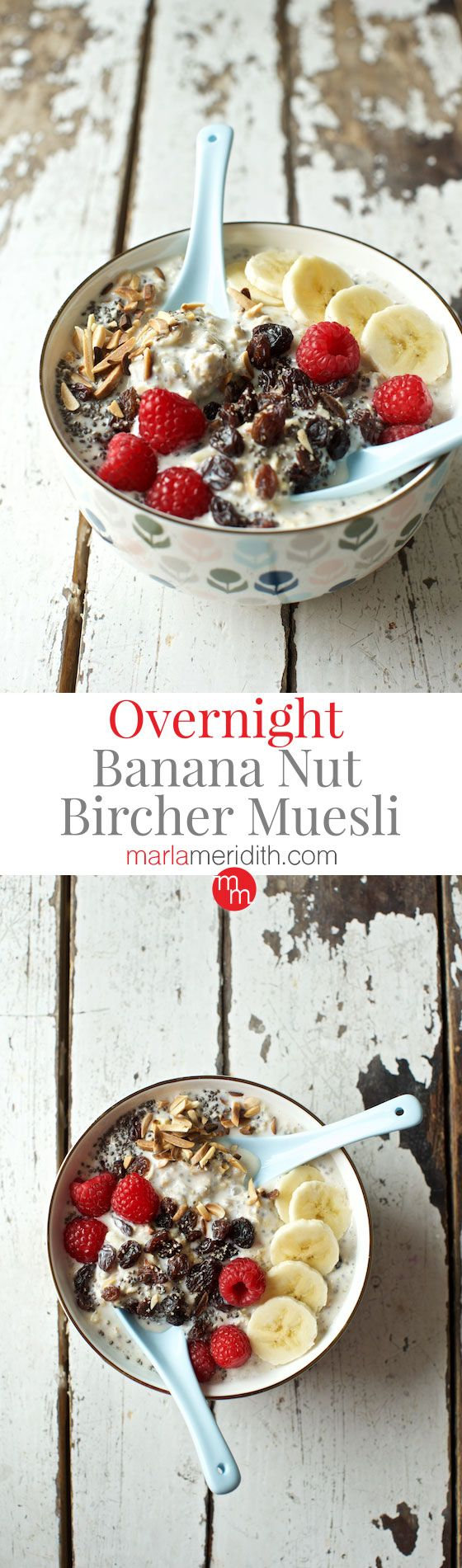Overnight Banana Nut Bircher Muesli, this breakfast recipe is super healthy and delicious! MarlaMeridith.com ( @marlameridith )
