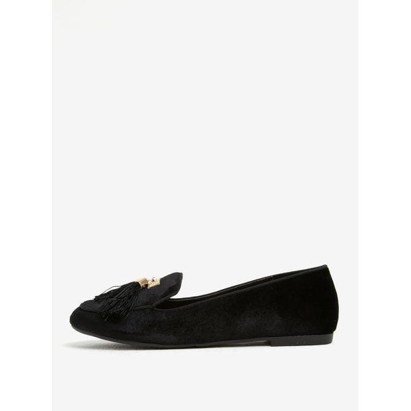 Pantofi loafer negri din catifea cu ciucuri si detalii aurii – Miss KG Madeline