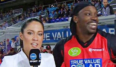 Mel McLaughlin an Australian sports reporter for Sports Ten to whom Cricket player Chris Gayle flirted with in the middle of an interview. He was then fined