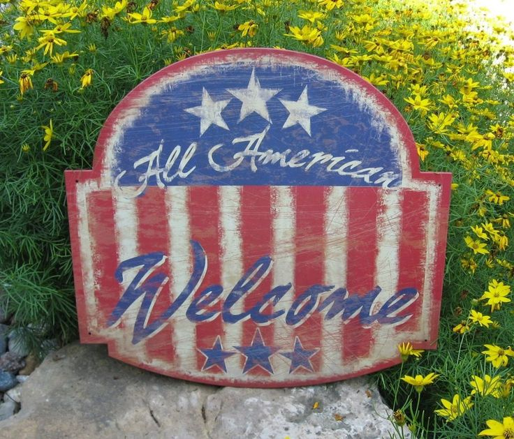 Americana Welcome Wall SIGN/Message Board*Primitive/Country Decor*FLAG*Stars #NaivePrimitive