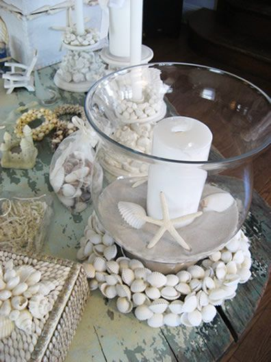Seashell Wreath Beach Wedding Centerpieces With White Or Natural Shells,  Shell Wreaths, Hurricane Vases Wreath.instead Of A White Candle It Would Be  Tiffany ...