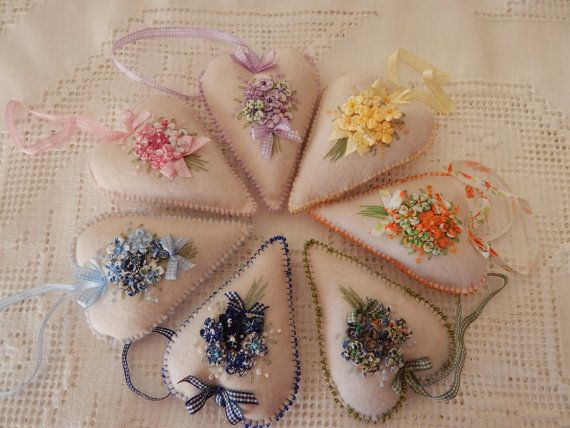 Bouquet Heart Ornaments by cuoredamore on Etsy