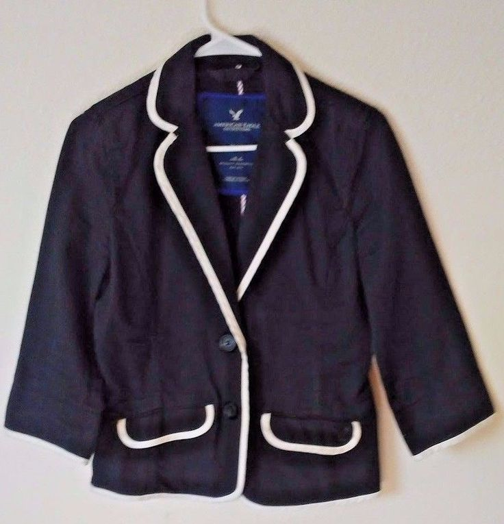 American Eagle Outfitters Blazer Fitted Size M Black Cotton Spring Work #AmericanEagleOutfitters #Blazer