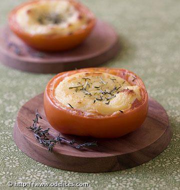 Photo de la recette : Tomates aux fromages de chèvre chauds