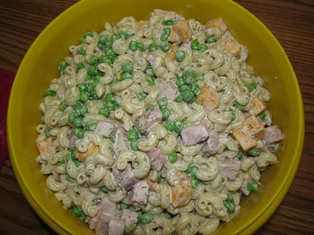 Pasta Salad - Peas, Ham and Cheese. I love this to take to potlucks - it makes a ton and it's good. But cube the cheese vs. shredding it. Way better that way.