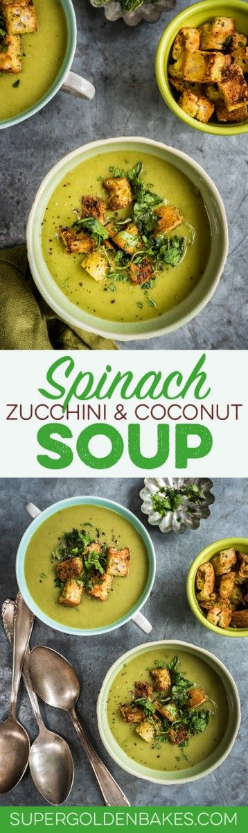 Spinach, coconut and zucchini soup with garlic croutons
