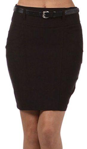 Save $32.00 on Sakkas Petite Stretch Short Pencil Skirt with Skinny Belt; only $22.99