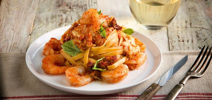 Shrimp Fettuccine Pasta and Fresh Mozzarella