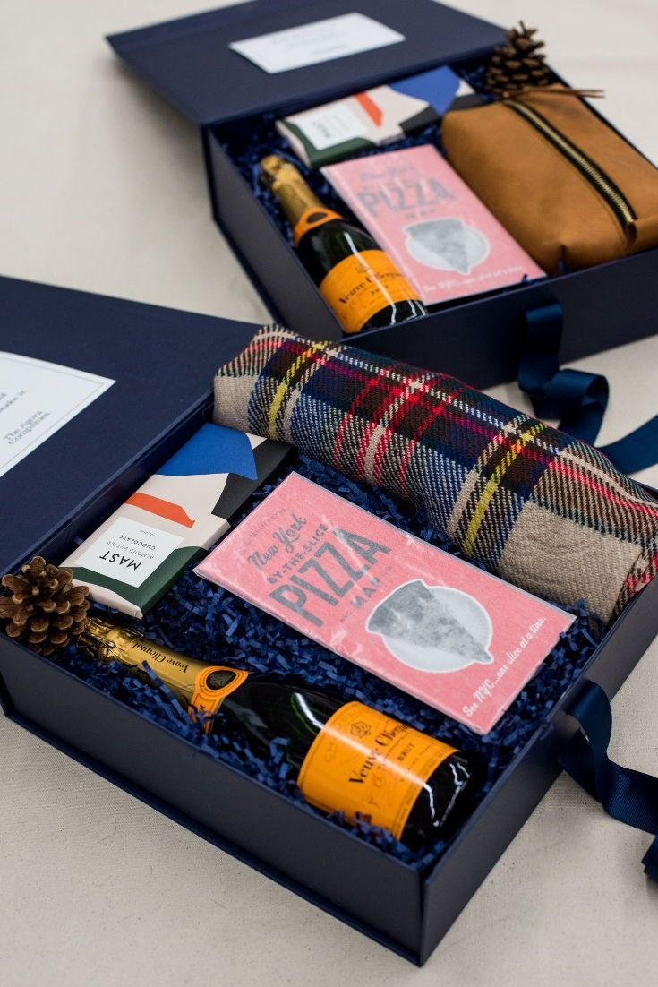 Corporate Event Gift Box Navy And Orange Holiday Inspired Custom