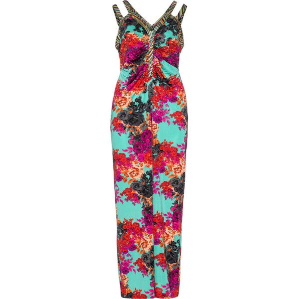 Anna Scholz Turquoise / Versicolour Plus Size Maxi dress with floral... (220 CAD) ❤ liked on Polyvore featuring dresses, plus size, turquoise, flower maxi dress, beach maxi dress, print maxi dress, beach dress and womens plus size maxi dresses