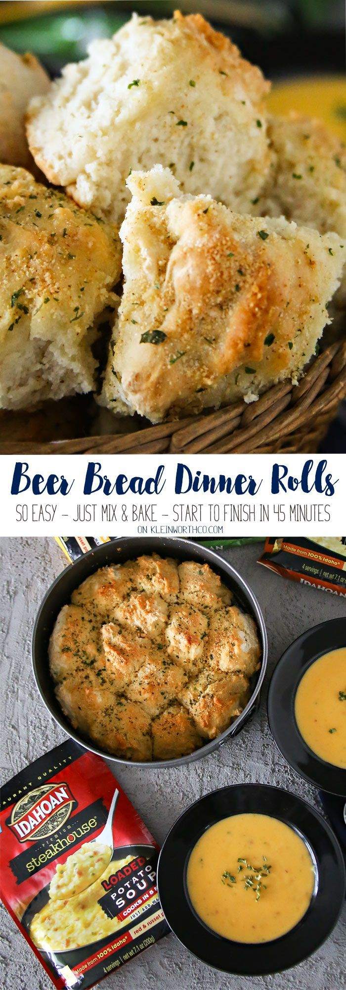 Beer Bread Dinner Rolls are a quick & easy family dinner idea that's ready to eat in just 45 minutes. Pair them with delicious soup! AD #IdahoanSteakhouseSoups via @KleinworthCo @Idahoanfoods