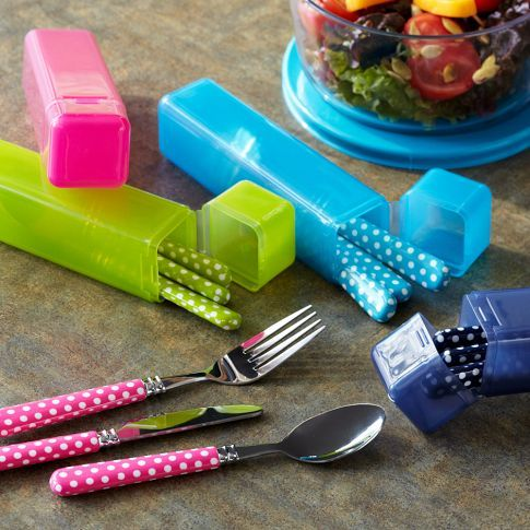 Gear-Up Lunch Utensils. Polka dot utensils from Pottery Barn! Perfect and Adorable for a dorm in college!