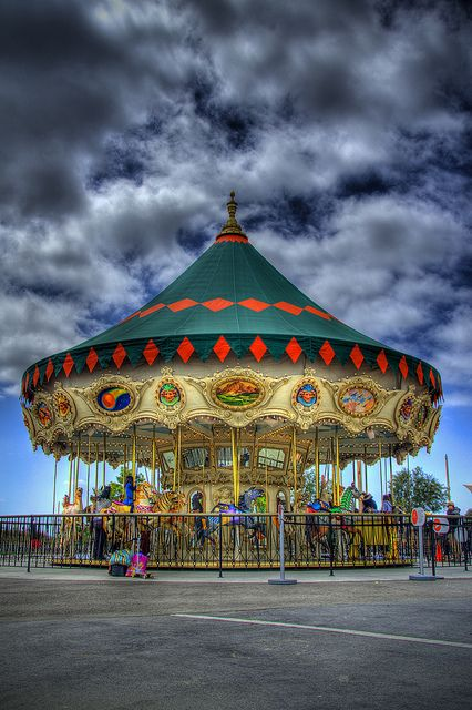 The carousel at the Orange County Great Park. The updated 38-foot Carousel, was formerly located in Fashion Island, Newport Beach, features new hand painted panels depicting Orange County's heritage.