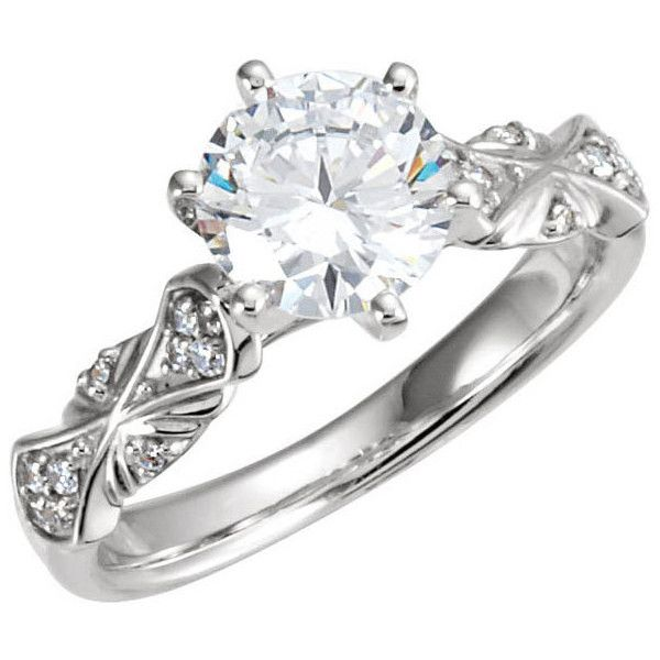 14kt White Gold  Round Sculptural Semi-Mount Engagement Ring ($970) ❤ liked on Polyvore featuring jewelry, rings, wedding ring, engagement rings, wedding, pave ring, pave wedding ring, wedding jewelry and white gold rings