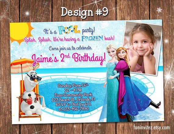 Frozen - CUSTOM Anna Elsa Olaf Summer Pool Beach Swim Birthday Party Girl Photo Invitations - Printable