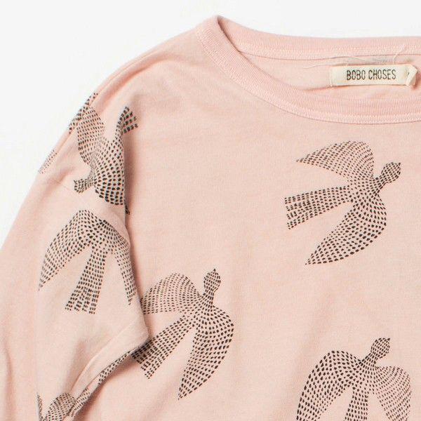 BOBO CHOSES T-Shirt Rose Manches Longues Birds