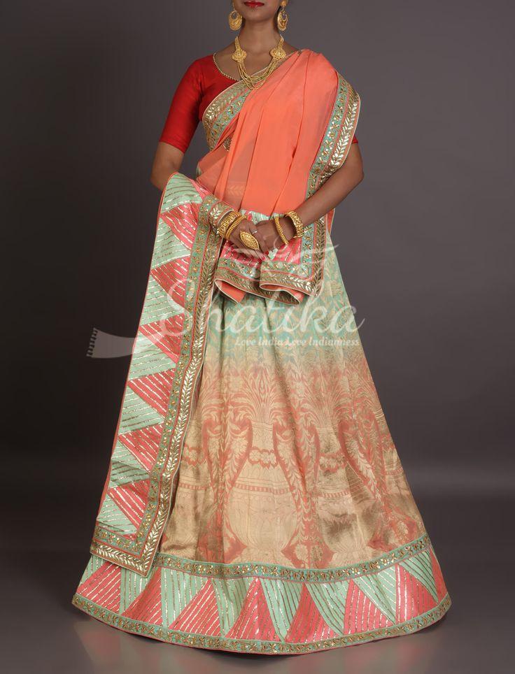 Shilpa Peach And Blue Gradient Trikon Embroidered Border Designer Rajasthani Lehenga