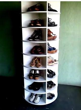 lazy susan shoe rack video