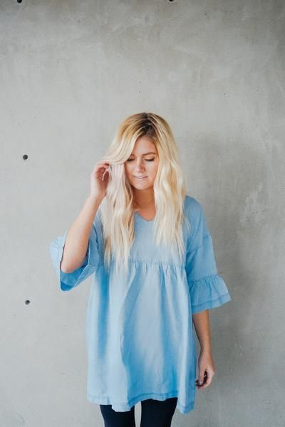 SWEET CHAMBRAY TUNIC || @beherenowclothing || @chanroberson || Spring, summer, cute top, simple, chambray, ruffles.
