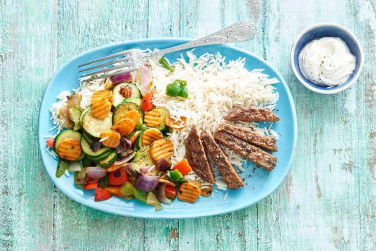 Gegrilde steak de boeuf met rijst en roerbakgroente - Recept - Allerhande