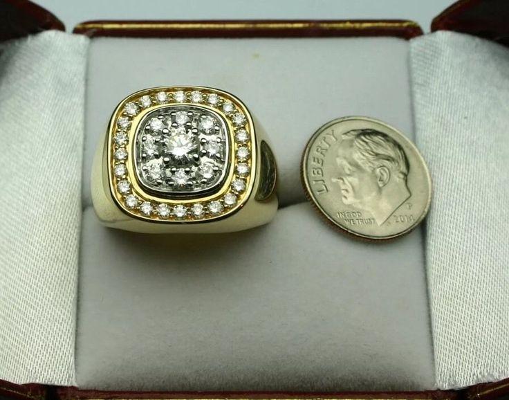 Men's Diamond Ring 1 50 Carat Total 14k | eBay
