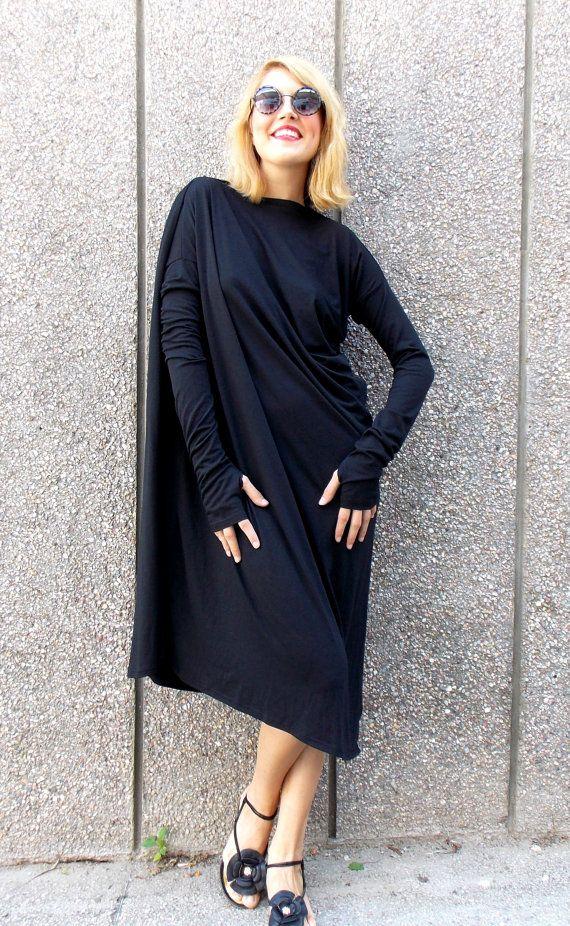 Black Maxi Dress / Asymmetric Plus Size Black Dress / by Teyxo