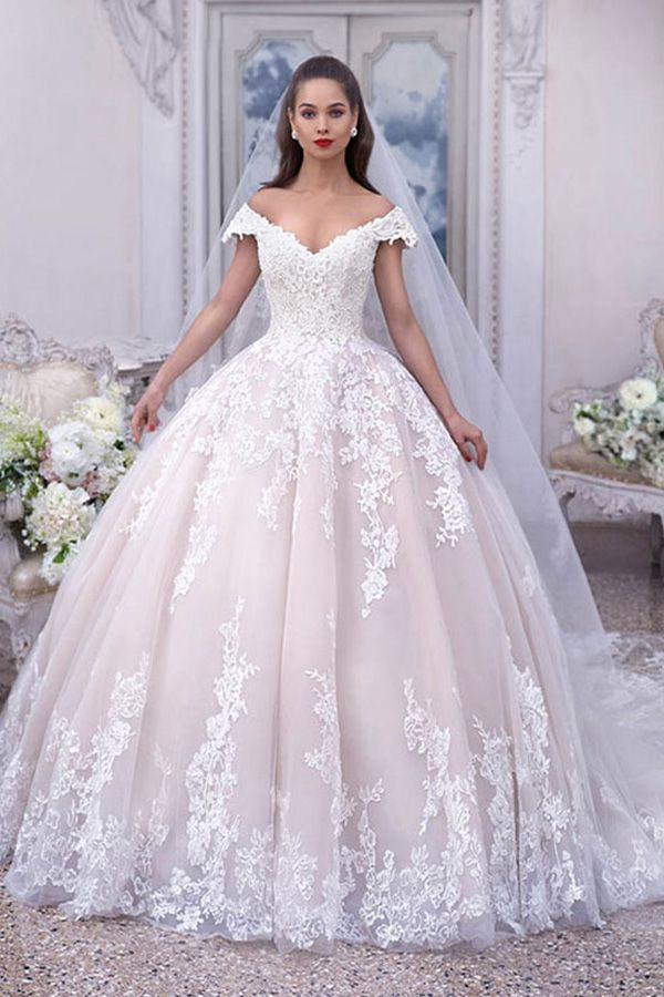 9d499e587fb Eye-catching Tulle Off-the-shoulder Neckline Floor-length Ball Gown Wedding  Dresses With Beaded Lace Appliques