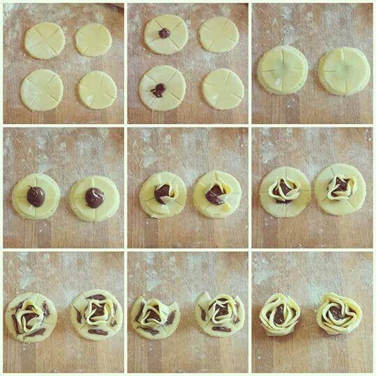 Roselline di pasta frolla con ripieno di nutella