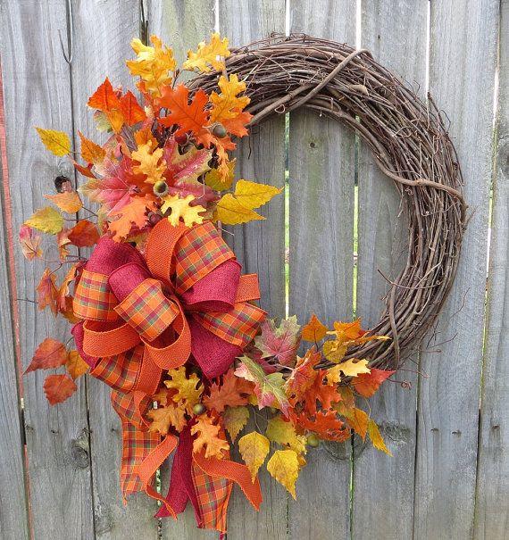 Wreath For Fall  Fall Wreath  Fall Door Wreath  by HornsHandmade, $59.00