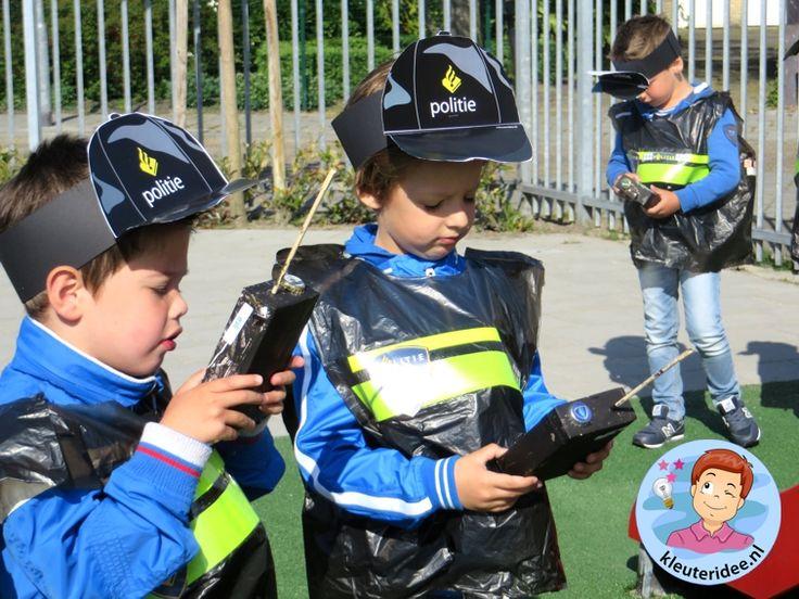 Cap en portofoon knutselen met kleuters, kleuteridee.nl, thema politie met gratis downloads