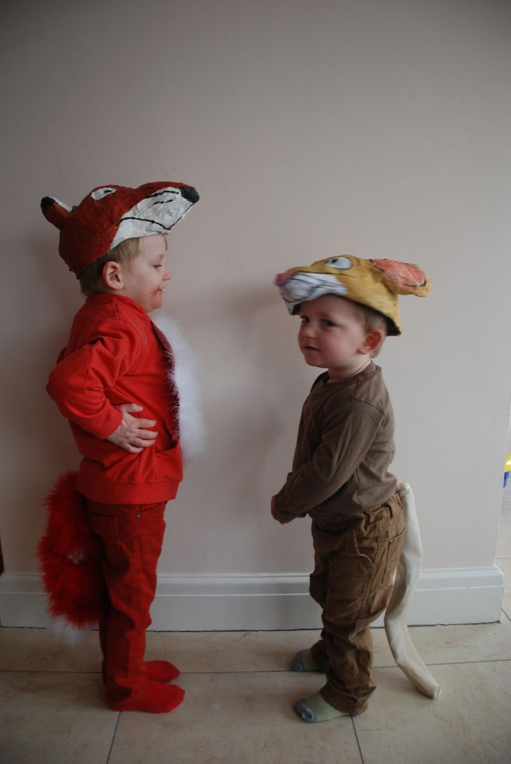 World Book Day Costumes The Fox and the Mouse from the Gruffalo. Papier mache headgear.
