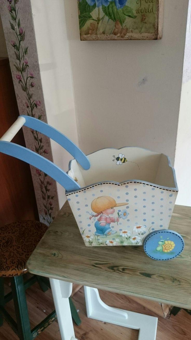 Bebek arabası #decoupaje #stencıl #Handmade