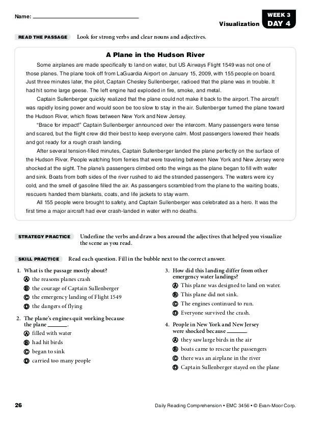 Reading Comprehension Worksheets Grade 5 Com For 3 Download Daily